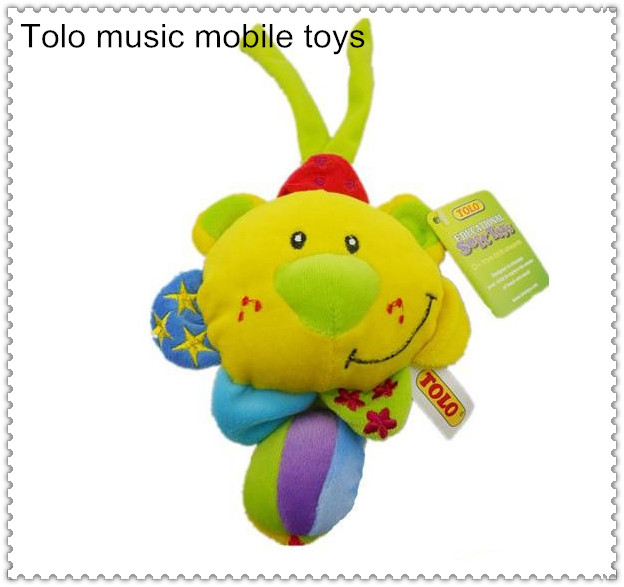 Free shipping Hot sale TOLO lion stuffed animal music mobile toys for baby(China (Mainland))