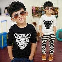 2014 Cotton Flax edition big boy long-sleeved T-shirt Tiger head bottoming shirt sweater children's clothing wholesale