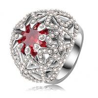 Surper Deals Fashion Design Platinum Plating Rings Austrian Crystals SWA Element Flower Wedding Rings Women Finger Ring  RIN094