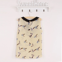 2013 new !Women's New Sleeveless Chiffon Bird Printed blouse Shirt And Blouses spot shirt bird sleeveless vest
