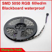 High Quality! 5M 5050 RGB Black PCB 60led/m 300 LED SMD5050 Waterproof IP65 DC 12V Flexible Light Strip Free shipping