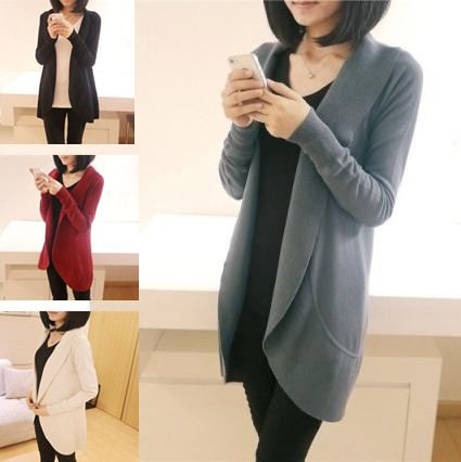 S M L XL Spring autumn plus size slim woman outerwear thin sweater coat loose long sleeve scarf collar cardigan knitwear MY015(China (Mainland))