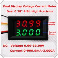 Green+Red Dual LED Display 4 bit 0.28 Digital Ammeter Voltmeter Car voltage current meter DC 0-33.0V/1A/3A 5 wire [4pcs/lot]