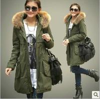 Plus size xxxxl  female clothing  winter cotton-padded jacket overcoat  raccoon fur wadded jacket down parkas 4xl free shipping