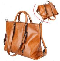 Wholesale NEW 2013 Wax Cowhide Work Bag portable Messenger Bags Woman Genuine Leather Handbag Women's Motorcycle bag handbags
