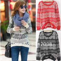 Free Shipping 2013 New Fashion Korean Women Long Loose Sweater Chinese Style Pullover Women's Knitted Sweater coat For Winter