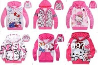 New 2014 hot selling spring-summer cotton children hoodies, cute cartoon hello kitty baby girls sweater Free shipping