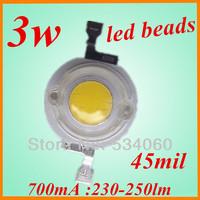 factory oulet 30pcs/lot 3w  high power white LED lamp beads 230-250lm bridgelux 3w led light  Beads led grow light free shiping
