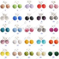 8mm 25 Mix Color Micro Disco Ball Shamballa Earring Clay CZ Crystal 5 pairs stud earrings fashion earrings 2014