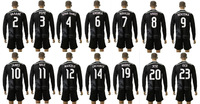best quality 2014/15 UEFA Real Madrid long sleeve black soccer jersey uniforms set RONALDO BENZEMA BALE football shirt kits 2015