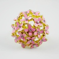 Min Order $5 (Mix Order) Fashion Ring Mixed 2-3 Colors Rhinestone Flower Ring Open Size