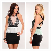 Free shipping New 2014 summer dress SexyWhite Black Eyelash Lace Peplum Dress LC2987