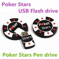 8GB 16GB 32GB 64GB rubber Poker Stars pokerstars USB flash memory drive Pen Full Capacity USB 2.0 Flash Drive pendrive