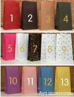 Size 23cm * 12cm * 7.5cm new 13 styles Different colors without handle paper bag food packaging kraft paper bag 50pcs