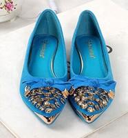 NEW Genuine Leather Rhinestone Bow Flat Heel Gommini Loafers Sweet Flat Four Seasons Women's Bowknot  Comfortable Flat Shoes