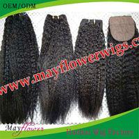 2 or 3 bundles Peruvian virgin hair kinky straight with 4x4 silk base closure hidden knots