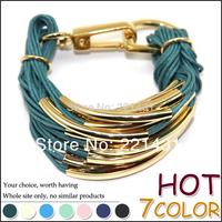 Lady Wax Cord Chain Gold Copper Tube Charm Fashion Bracelets Leather Bangle Women Hand Jewelry Accessories Brand Women Bracelet