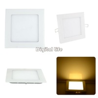 3pcs/lot 2014 New 6W Warm White Recessed Ceiling Square Panel Down Light Bulb Lamp 15565*