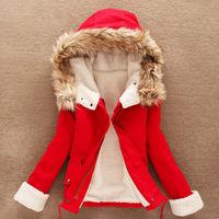Fashion Korean womens cotton padded thick Plush collar jacket hooded clothing 35
