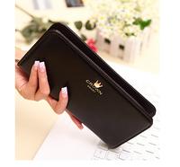 200pcs/lot Fashion Ladies Crown Design Wallet Long Style Solid Color PU Leather Purse