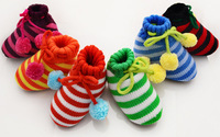 6 colors the stripe First Walkers Crochet Baby Shoes woolen yarn Baby Socks Knitting newborn baby shoes baby's gift 6 pairs/lot