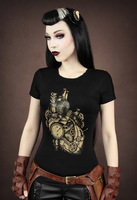 RE014 New Arrival 2013 hot sales women steampunk MECHANICAL HEART restyle fashion digital printed Short-sleev T-shirt tees tops
