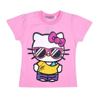 5006 new hello kitty children PINK/GRAY clothing kids short-sleeve summer cartoon t-shirt top quality 100%cotton wholesale