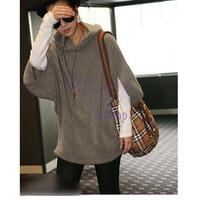 Hot New 2014 Women Autumn Winter Batwing Sleeve Loose Knitted Hoodies Pullovers Sweaters 7384 Big Size