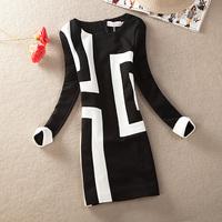 New 2014 Spring Autumn Women Winter Brief Slim Patchwork Color Block OL Outfit Irregular Casual Stripe Dress 3xl xxl PH0335