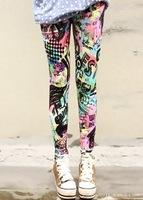 P19 New Arrival Autumn EUROPE Colorful Letter Pattern Scrawl Print Skinny Elasticity Pants Fashion Women's Leggings