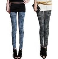 P21 New Arrival Autumn EUROPE Pocket Patchwork Jean Legging Skinny Elasticity Pants Fashion Women's Leggings