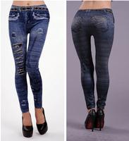 P24 New Arrival Autumn EUROPE Vintage Print Hole Faux Jeans Legging Skinny Elasticity Pants Fashion Women's Leggings
