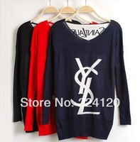 Free shipping 2014 autumn fashion women sweater pullover bat fashion loose casual V-neck long-sleeve sweater sale