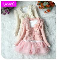 DearG 2015 Spring New Little Girls Tutu Dress set Baby Girl Cardigan Eevening Party Wedding Kids Lace Princess Flower Brand