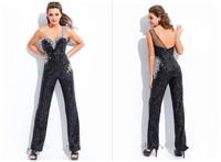 2015 Exquisite Black Evening Dresses Sweetheart One Shoulder Sequins Beaded Evening Dress Custom-made