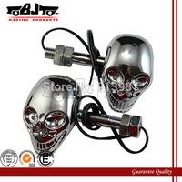 BJ-SL-015 Universal Motorcycle Skull 4 LED Turn Signals Indicators Amber Lights for honda yamaha kawasaki suzuki ducati harley