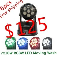 free shipping,7x10W RGBW 4in1 LED Moving Head Wash Light Mini LED Moving Head Wash Lights
