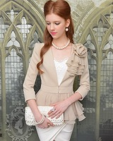 Charming women coat  Beige chiffon flowers autumn outwear  2014 fashion Tops free shipping !
