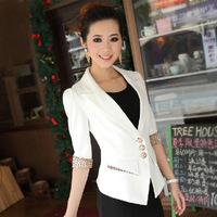 2014 Fashion Autumn Women Casual Blazer Fashion Women Business Suit Three Quarter sleeve Jacket free shipping !