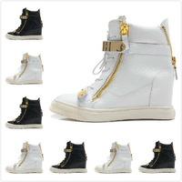 2014 Women's 9cm Fashion Design Wedges Sneakers,Black/White Stone Print Leather Double Metallic Velcro & Zip High Top High Heels