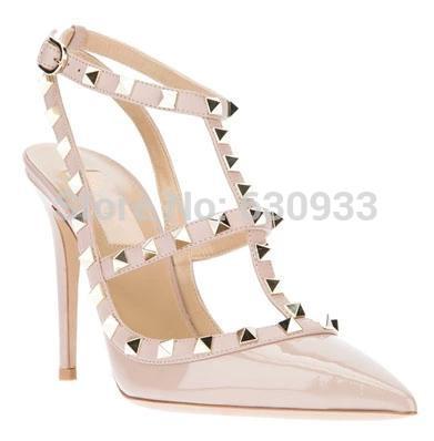 HOT!! Women Rockstud heels Patent Sandal valentin T-strap strap across instep wedding Patent Sandals genuine leather woman pumps(China (Mainland))