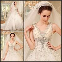 2014 Gossip.H All sizes Personal custom Ultimate luxury crystal wedding dress New arrival straps train Princess wedding dress