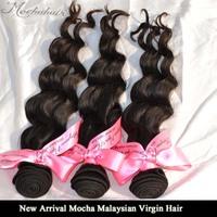 """100% Human Hair Mocha Hair 3pcs/lot 12""""-28"""" Malaysian Loose Wave Virgin Human Hair Natural Color Tangle Free"""