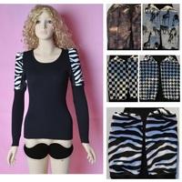 2014 New Autumn Winter Women PU Leater Patchwork Pullover Knit PU Shoulder Zebra Leo Long Sleeve Basic Bottom Shirt Wholesale