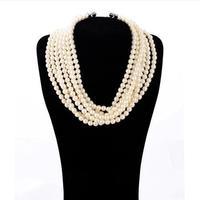 Fashion accessories multi-layer glass pearl women's luxurious necklace pendant necklaces pendants best friend