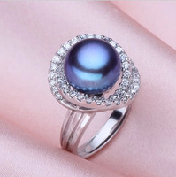 Cool Chrismas Gift Adjustable 11_12mm Pearl Rings Natural Freshwater Cultured Pearl&925 Sterling Inlay Zircon Silver Unice
