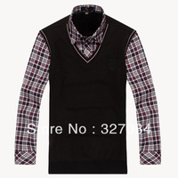 [BX24] 2013 Fashion Winter Men's Keep Warm Shirts,Knitting Underwear of False Two-Piece Thicken High Quality Low Price XXXL