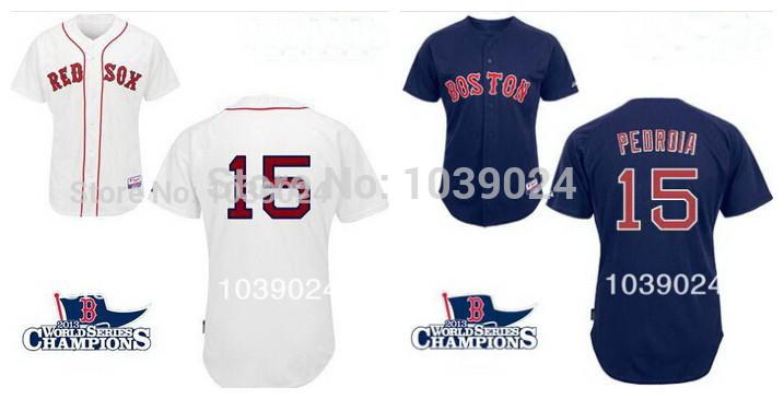 Hot Sale 2013 World Series Champions Boston Red Sox #15 Dustin Pedroia Baseball Jerseys White 100% polyester Free Shipping(China (Mainland))