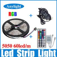5M RGB led Strip 5050 SMD Flexible Strip Lighting +44 Key IR Remote+ 12V 6A transformer For Home Decoration WLED37