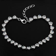 Genuine 925 Sterling Silver Bracelet Women s Heart jewelry Crystal Love Bracelet JewelOra BA100985